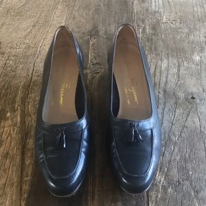 Salvatore Ferragamo Navy Blue Leather Tassel Heels